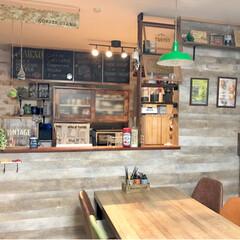 壁面インテリア/手作りハンバーガー/カフェ風インテリア/カウンターキッチン/メニューボード風/ラブリコ/... 我が家のカフェ風ダイニング゚*✩‧₊˚ …(2枚目)
