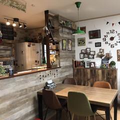 壁紙屋本舗/ダイニング/クリスマスツリー/カフェ風インテリア/キッチン/100均/... RoomCripのカフェ風インテリアイベ…