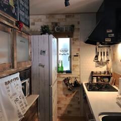 冷蔵庫リメイク/スッキリ暮らす/カフェ風キッチン/カフェ風インテリア/フォロー大歓迎/キッチン/... キッチン見せて!のイベント参加😊 我が家…