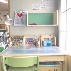 子供部屋/勉強机/壁掛けシェルフ/壁掛け/本棚/春のフォト投稿キャンペーン/... おはようございます😄 連休も半分過ぎまし…