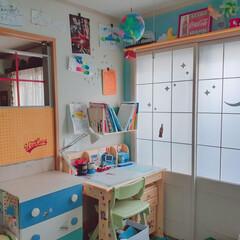 カフェ風インテリア/チェストリメイク/障子リメイク/学習机/有孔ボード/すのこリメイク/... リビングと和室の子供部屋の間にパーテーシ…(3枚目)