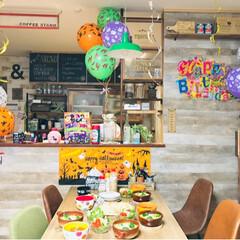 カフェ風インテリア/ハロウィン仕様/バースデーケーキ/誕生日飾り付け/誕生日/バースデーデコレーション/... 皆さま、台風の被害はありませんでしたか?…