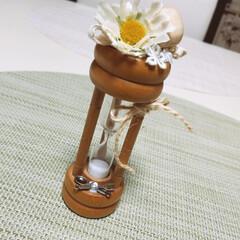 砂時計/雑貨/ハンドメイド/100均/ダイソー/セリア 家に眠っていた砂時計を可愛くしてみました…