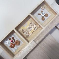 ミニチュア/LIMIAインテリア部/雑貨/ハンドメイド/100均/セリア 今回は木箱にミニチュアを付けてみました♡…