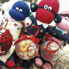 靴下/ハンドメイド/インテリア/クリスマス 職場のカウンター♡ 靴下で作ってある手作…