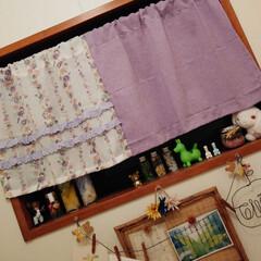 カフェカーテン/トイレ/ダイソー/ハンドメイド トイレのカーテンが夏っぽかったので、ダイ…