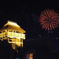お祭り/花火 佐賀吉野ヶ里遺跡お祭り☆ 物見櫓と花火の…