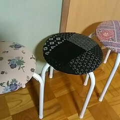ハギレ活用/椅子リメイク/パイプ椅子/DIY/住まい/リフォーム