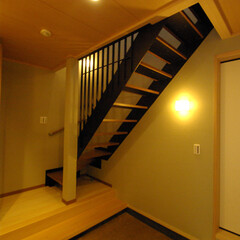 玄関ホール/ストリップ/スケルトン/鉄骨階段 玄関を広く見せたい為に軽く見せました。