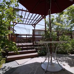 ウッドデッキ/石貼りテラス/お庭/外構/リフォーム/住まい/... 石貼りのテラスとウッドデッキの庭を植栽で…