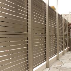 外構/エクステリア/住まい/一戸建て/目隠しフェンス/お庭/... 無機質なアルミの目隠しフェンス。飾り気が…