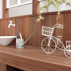 住まい/外構/エクステリア/ウッドデッキ/飾り棚/立水栓/... ウリンのウッドデッキに飾り棚を造作しまし…