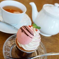 カップケーキ/カフェ/おでかけ/スイーツ 桜モンブランのカップケーキです。素敵なカ…
