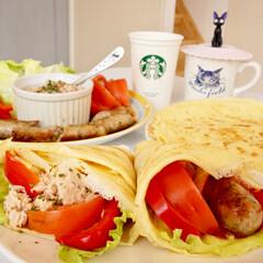 お昼ご飯/カフェ風/HM/おうちごはん/フード/グルメ HMでクレープ。お昼ご飯なので、ツナクレ…