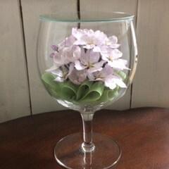 ボトルフラワー/桜/ソメイヨシノ/生花保存/グラスボトル 今年初ご注文の桜のボトルフラワー 今は2…