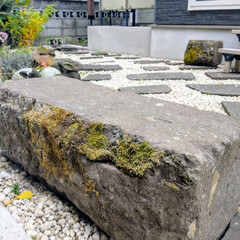 端材/石庭/被災地支援/ベンチ/庭づくり 自作のお庭です。 あまり広くはないですが…