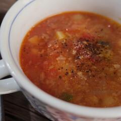 うちの定番料理 ⌘豚の香草焼きとガルバンゾスープ ガルバ…(7枚目)