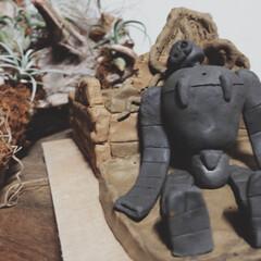 植木鉢/陶芸/粘土/朽ち果てたロボット兵 ⌘ロボット兵