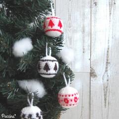 クリスマスボール/ニットボール/ツリー模様/かぎ針編み/編み図/クリスマス2019 クリスマスボールをかぎ針で編みました。 …
