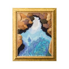 刺繍/風景/ビーズ/エンブロイダリー/スパンコール ビーズビエンナーレ入賞作品 アイスランド…