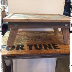 DIY/木工雑貨/キャンプ/トレイ/ミニテーブル キャンプにも使える 折りたたみミニテーブ…(1枚目)