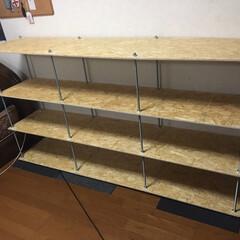 ボルト/全ネジ/息子の部屋/DIY/インテリア/収納 ショップの様な棚 全ネジとボルトで(1枚目)