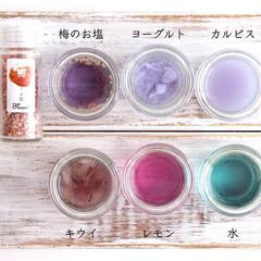 梅のお塩/実験/美肌効果/バタフライピー/ハーブティ/Flusso/... 【夏休み♡自由研究♡】 もう今日から新学…