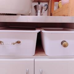 プチDIY/ストレージボックス/プチプラ/最近買った100均グッズ/limiaキッチン同好会/キャンドゥ/... 【キッチン棚の引き出しをプチDIYでリメ…