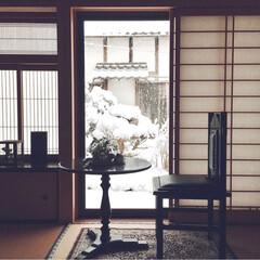 バーニー ラウンドテーブル PM-618 | 東谷(カウンター、ハイテーブル)を使ったクチコミ「積雪の日に和室から見た眺めです。 2枚目…」