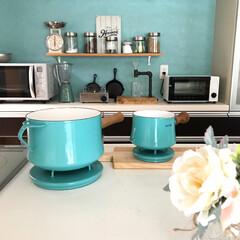 無印良品/ダルトン/西海岸インテリア/ニトリ/キッチン/琺瑯鍋/... 愛用のDANSKの琺瑯鍋です。 鍋蓋のデ…