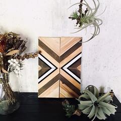 アート/海外インテリア/boho/ウッドアート/DIY/雑貨/... 木材を一本一本組み合わせてDIYしたウッ…