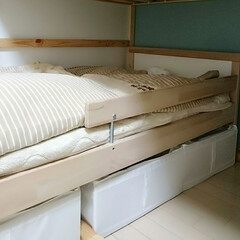 ベッド下収納/おもちゃ収納/IKEA収納/IKEA/収納/暮らし 子供のベッド下には、IKEAのskubb…