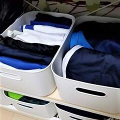 ジャージ収納/クローゼット収納/洋服収納/収納/無印良品 よく使うジャージ類は引き出しではなくボッ…