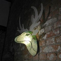シーグラス/ランプ 鹿のハンティングトロフィーB  個展会場…(1枚目)