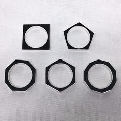 手作りシルバーアクセサリー/シルバーリング/多角形リング/四角形/五角形/六角形/... スクエア(四角形)のシルバーリング  「…
