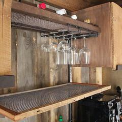 オーダーキッチン/グラスホルダー/ボトルラック/アイアン製作 スタジオ施工例3 ボトルラック