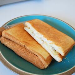 アウトドア/ホットサンド/クッキング バナナとクリームチーズのホットサンド♪