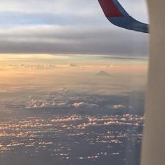 夕焼け/夕日/夕陽/富士山/雲/空/... 今年の夏の思い出… 飛行機内からの写真で…
