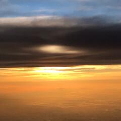 夕焼け/夕日/夕陽/富士山/雲/空/... 今年の夏の思い出… 飛行機内からの写真で…(2枚目)