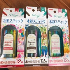 全芯色鉛筆 水彩スティック 12色 スイートミックス(色鉛筆)を使ったクチコミ「前から気になってた「ヴィスタージュ」水彩…」