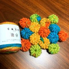 毛糸/コイル編み/かぎ針編み/ハンドメイド/100均/セリア/... 初挑戦のコイル編み。セリアの毛糸【cak…