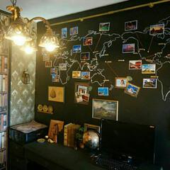 WALPA/壁紙屋本舗/セルフリノベーション/セルフリフォーム/スチームパンク/黒板ペンキ/... 書斎の壁に黒板ペンキを塗って世界地図を描…