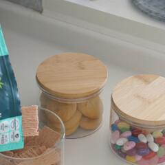 見せる収納/キャニスター/収納/ダイソー/100均/DAISO/... ダイソーで見つけた竹の蓋つきガラスキャニ…(2枚目)