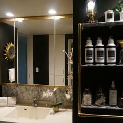 見せる収納/海外インテリア風diy/海外インテリアに憧れる/ホテルライク/洗面所DIY/洗面所収納/... 塩ビパイプで作った収納棚に合わせて、鏡も…