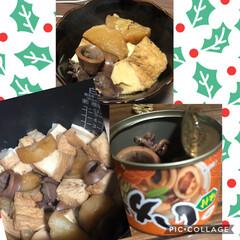 セリア/サンタ/おうちごはん/クリスマス2019/リミ友さんから 炊飯器調理 イカの缶詰を使って、大根と厚…