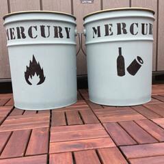 塗装/水性塗料/オリジナル/ステンシル/ゴミ箱/ペール缶/... ステンシル自作でペール缶塗装して オリジ…