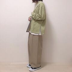 ワイドパンツ/プチプラ/スウェット/ピスタチオカラー/GU/ファッション gu購入品でさっそくコーデ♡ ピスタチオ…