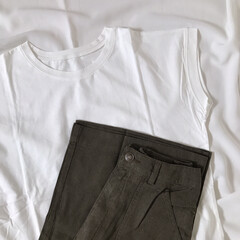 プチプラ/リネンパンツ/フレンチスリーブ/白T/Tシャツ/レカ/... recaのお洋服* シンプルなフレンチス…