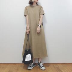カジュアルコーデ/ワンピース/GU/ファッション GU新作のAラインワンピースを購入しまし…