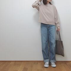 カジュアルコーデ/GU/ユニクロユー/ユニクロ/ファッション 購入してからめちゃくちゃ出番の多いトップ…